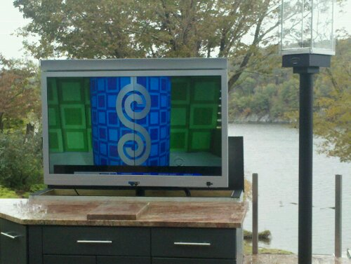 Outdoor Kitchen Design W Pop Up Tv Outdoor Stone Sink And Powder Coated Stainless Steel