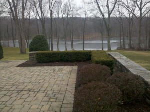 Outdoor pic before the stone and marble firepit